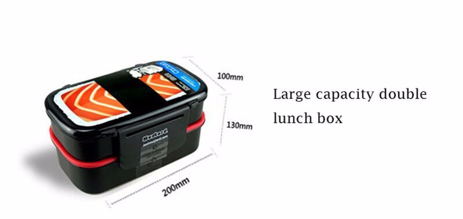 Large Capacity Double Tier Bento Lunch Box