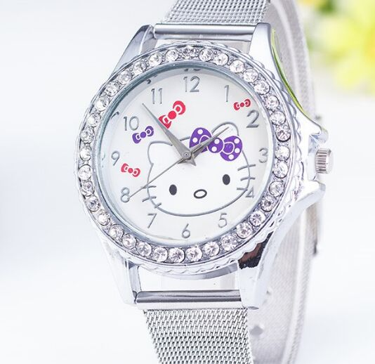 Hello kitty Cartoon Watch Women Girls silve Metal mesh belt steel Watches Clock Dress ladies watch Crystal Shining Reloj mujer(China (Mainland))
