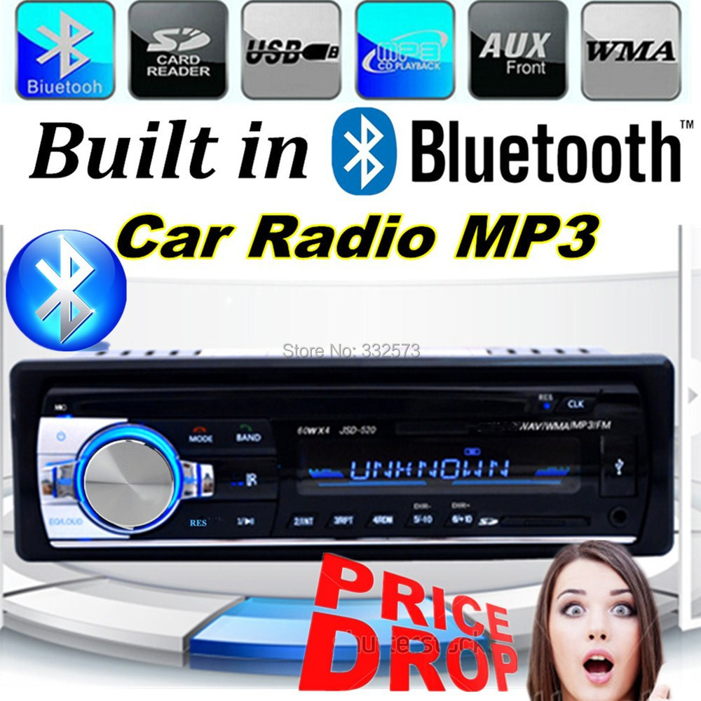 2015 New12V Car Stereo FM Radio MP3 Audio Player built in Bluetooth Phone with USB/SD MMC Port bluetooth car audio In-Dash 1 DIN(China (Mainland))