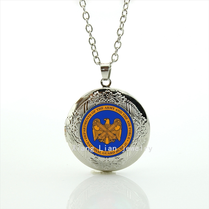 Personalized gift idea accessory National guard bureau departments of the army and the force locket necklace father gift MI009(China (Mainland))