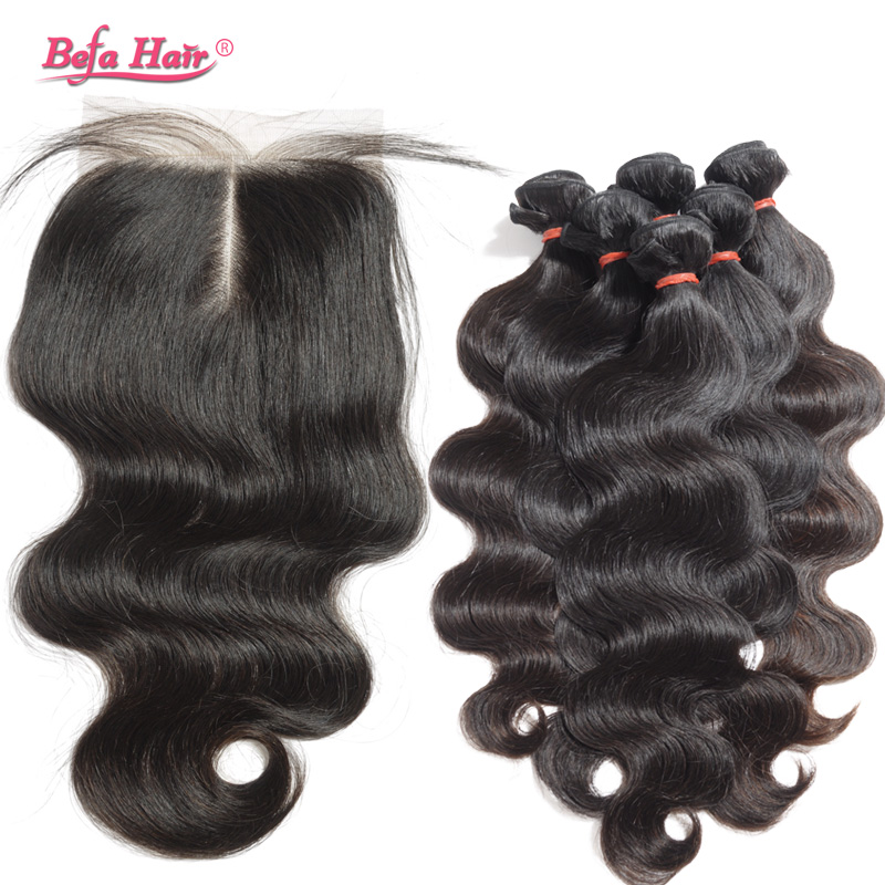 7A Peruvian Human Hair Weave Double Weft With Middle Part Closure 4pcs Peruvian Virgin Hair Body Wave With Closure Free Shipping<br>