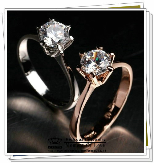 Italina brand 1PC Free shipping new 18K Gold Plated Classic design 1 carat 6mm simulated diamond wedding rings for women jewelry(China (Mainland))
