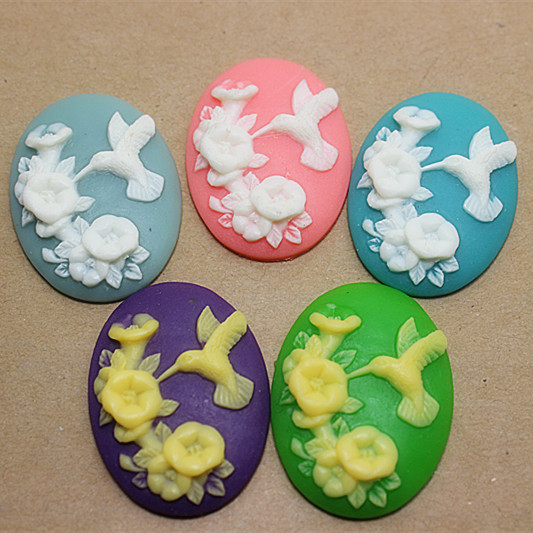 50pcs/lot Mix colors very cute 29*39mm resin flower and bird cameo craft for diy scrapbooking,BFD1012(China (Mainland))