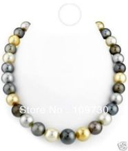 Jewelry 00775 14--15mm Australian south sea black white gray gold pearl necklace 18inch 14KG(China (Mainland))