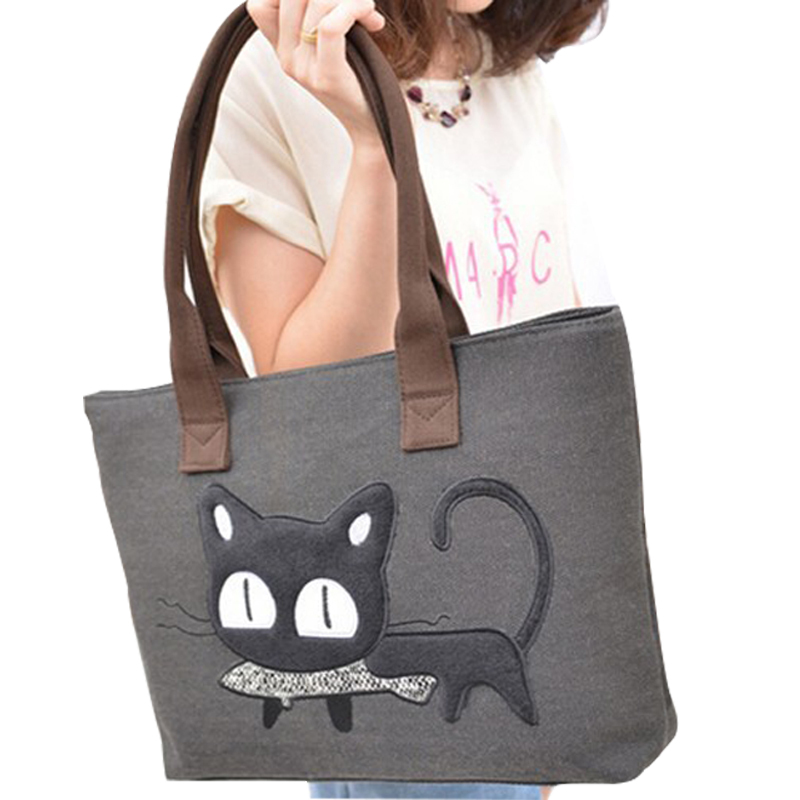 Maras dream Women shopper bag Lovely Cat Pattern soft pillow charater Shoulder bag School style Casual Canvas shopper Tote(China (Mainland))