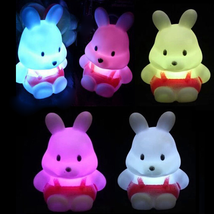 New day rabbit eyes LED 7 Colours Night light Lamp Party Christmas Decoration Colorful Free Shipping VC473 P12(China (Mainland))