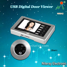 Sliver Motion Detect Door Peephole Viewer Camera Doorbell IR Infrared + Doorbell Switch