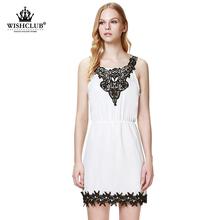 WISHCLUB 2015 New Arrive Patchwork Vestidos Sexy Sling White Lace Stitching Vestido de festa Women Fashion Casual Party Dresses