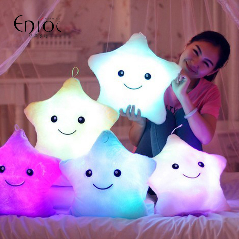 Lovely Battery Powered Decorative Flashing LED Light Plush Smiling Star And Sole Gifts Seat Cushion Pillow Free Shipping R-125(China (Mainland))