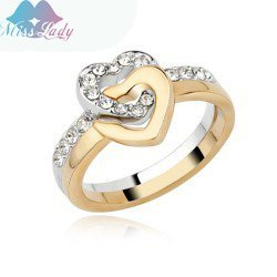 2013 18K Gold Plated Austrian Crystal Korea Double Heart Rings Wholesales Fashion Jewelry for women 4407