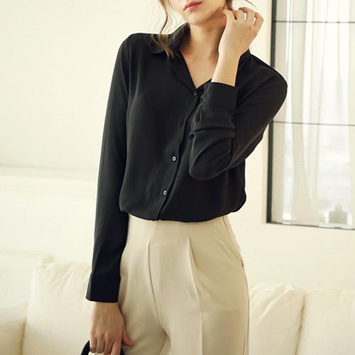 Blusas 2015 женщины офиса спецодежды 5 цветов chffion блузка с длинным рукавом формальный сплошной женские топы большой размер xxl wcx565