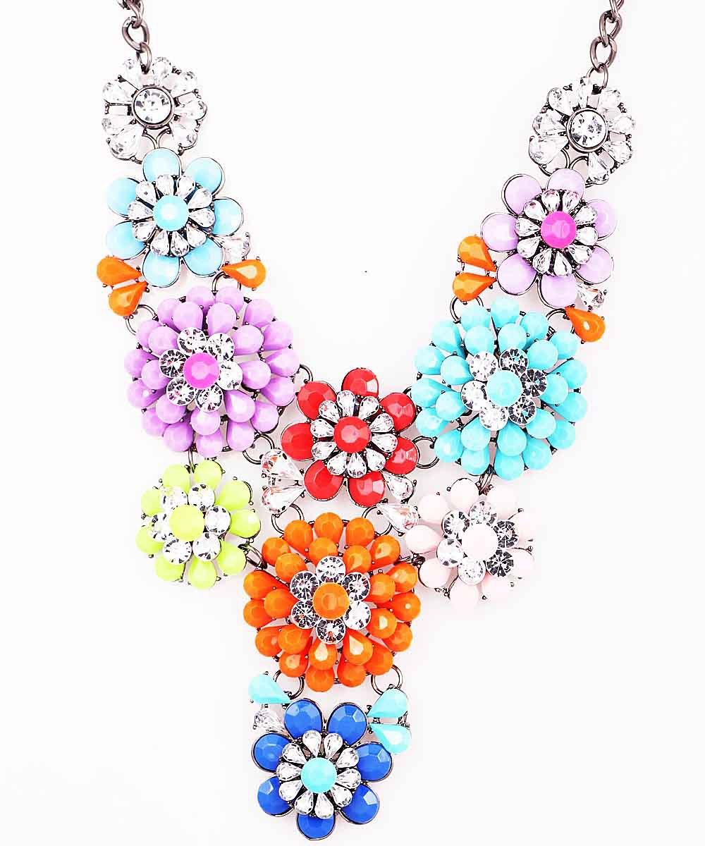 New Fashion Handmade Woman Gorgeous Resin Rhinestone Multideck Flower Bib Statement Women Choker Brand Necklaces Pendants(China (Mainland))