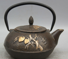 JP S0524 7″ Archaic Japan Iron Silver Peach Dynasty Portable Kettle Wine Tea Pot Flagon