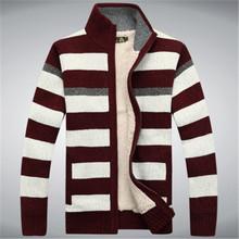 2015 Winter Fleece Thicken Sweater Men 70% Wool Stripe Mens Wool Cardigan sweaters Brand agasalho masculino size M -3XL A0372(China (Mainland))