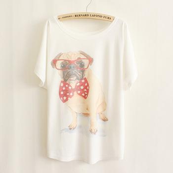 2015 new free shipping fashion women short sleeve t shirt plus size mr. Bowknot glasses pet dog t-shirt/tee C38