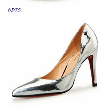 Crossdresser Plus:40-45 46 47 48 Gold/Sliver 10cm thin high heels sexy Patent Leather red Nightclub pumps women's wedding shoes(China (Mainland))