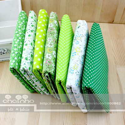 7 Designs mixed Green Color Cotton Fabric Fat Quaters Tilda cloth Quilting scrapbooking Patchwork Fabric 50