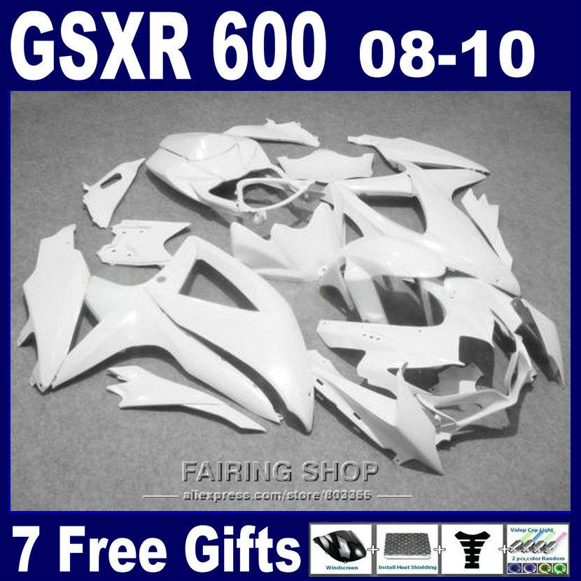 100% fit suzuki injection molding gsxr 600 750 08 09 10 white fairing kit gsxr750 2008 2009 2010 nm139