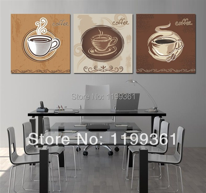 3 piece free shipping modern wall painting large kitchen decor coffee cup home decoration art - Home decor promo code paint ...