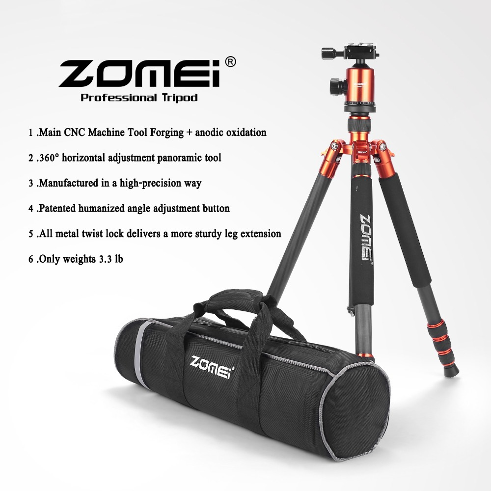 65-inch Professional SLR Camera Carbon fiber Travel Tripod Portable Monopod&Ball head with Carrying case for Canon Nikon Sony(China (Mainland))