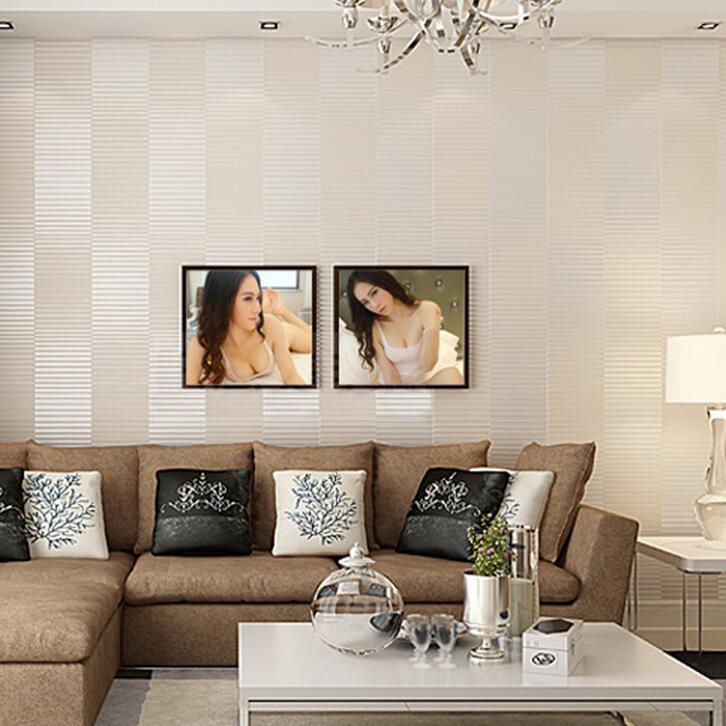 Simple horizontal striped wallpaper 3d living room tv sofa for Striped wallpaper living room ideas