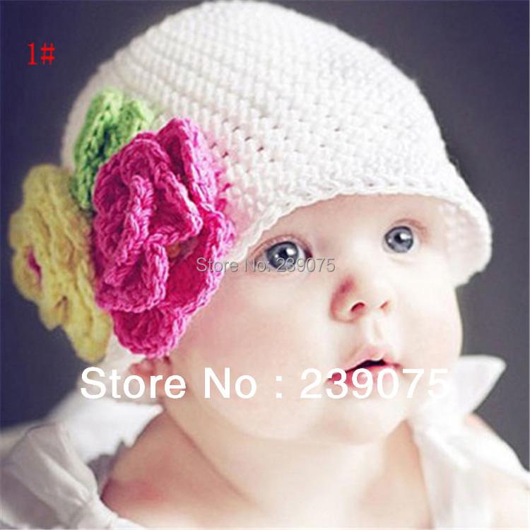 Newborn Baby Photography Prop Handmade Crochet Knit FLOWER Hat Beanie white(China (Mainland))
