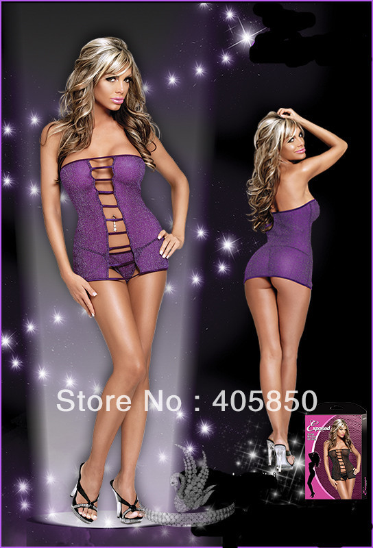 Sexy Lingerie Purple Shiny dress+g string 2pcs Sleepwear Underwear costume uniform kimono(China (Mainland))