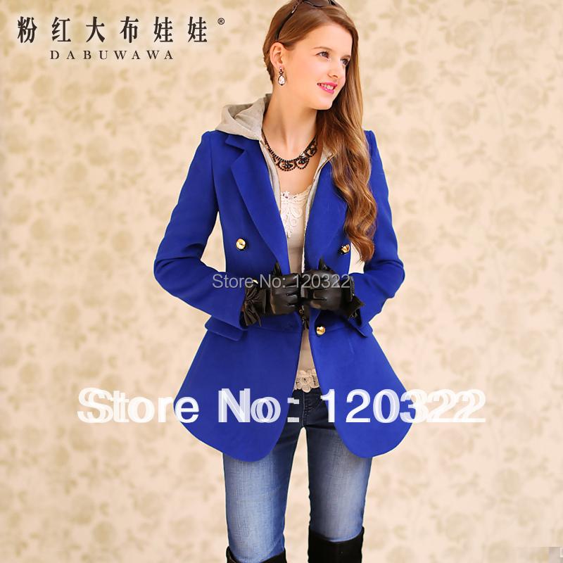 Original New fashion 2014 Brand Autumn and Winter Thick Wool Down Coat Jacket Women Slim Navy Blue Knit Faux Two Piece BlazerОдежда и ак�е��уары<br><br><br>Aliexpress