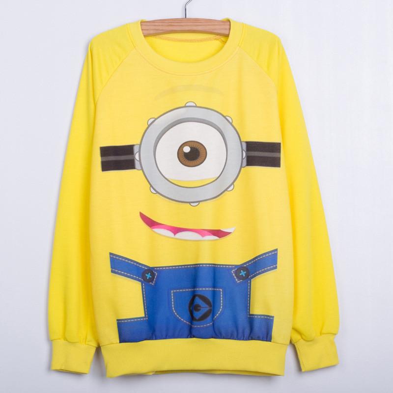 Hoodies female 2016 Cartoon Small Yellow People Printing Sweatshirts Women Casual Autumn Long Sleeves O-neck Sudaderas Feminino(China (Mainland))