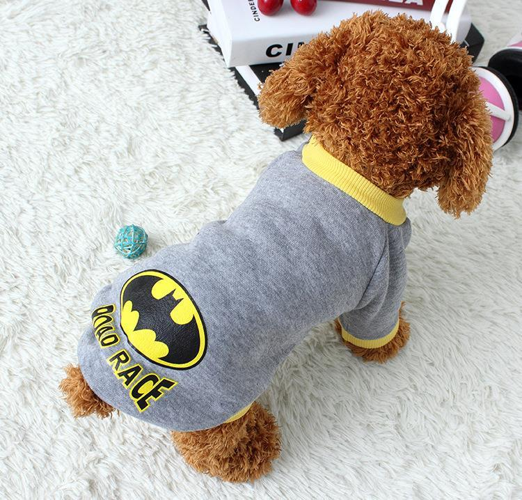 New Wholesale New Hot Gray Batman pattern Pet Dogs winter clothes Thick Warm Cotton sweater coat for Puppy dog Christmas gift(China (Mainland))