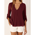 High Quality Women Blouse Sexy Tops Lady Chiffon Shirt New V Collar Solid Color Long Sleeve