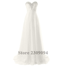XINGFUYANG Real Picture Off The Shoulder Brush Train Strapless Crytal Beads Beach Wedding Dress Four Color Free Shipping(China (Mainland))