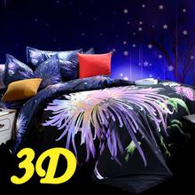 Cotton/polyester bedclothes 3d bedding set king/queen size (duvet cover,bed sheet,pillowcases) bed set purple HD#17-2(China (Mainland))