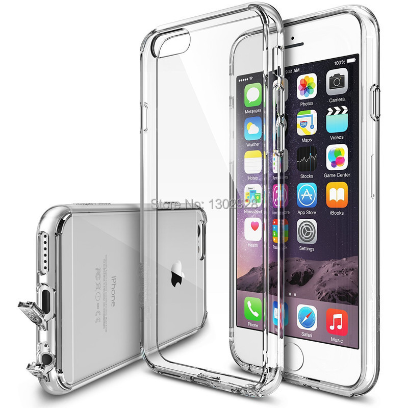 For iPhone 6/6 Plus/5S Ultra Thin 0.5mm Premium Clear Transparent Soft Case Cover, the Dust proof Plug, 1 free screen protector(China (Mainland))
