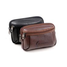 New Casual Men Waist Bag Vintage Fanny Pack 4.0 inch Monbile Phone Soft PU Leather Belt Bag Travel Sport Waist Pack Coin Pocket