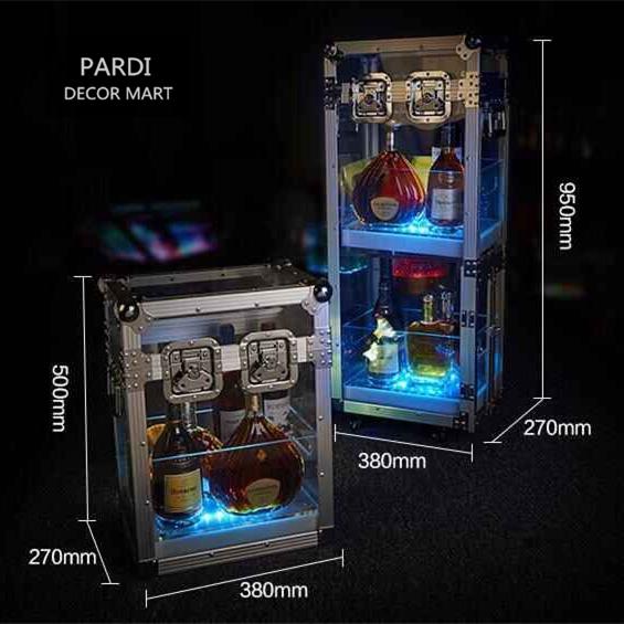 2016 NEW Large RGB Flashing LED bottle display LED bottle cabinet ice bucket LED bottle suitcase for bars night club promotion(China (Mainland))
