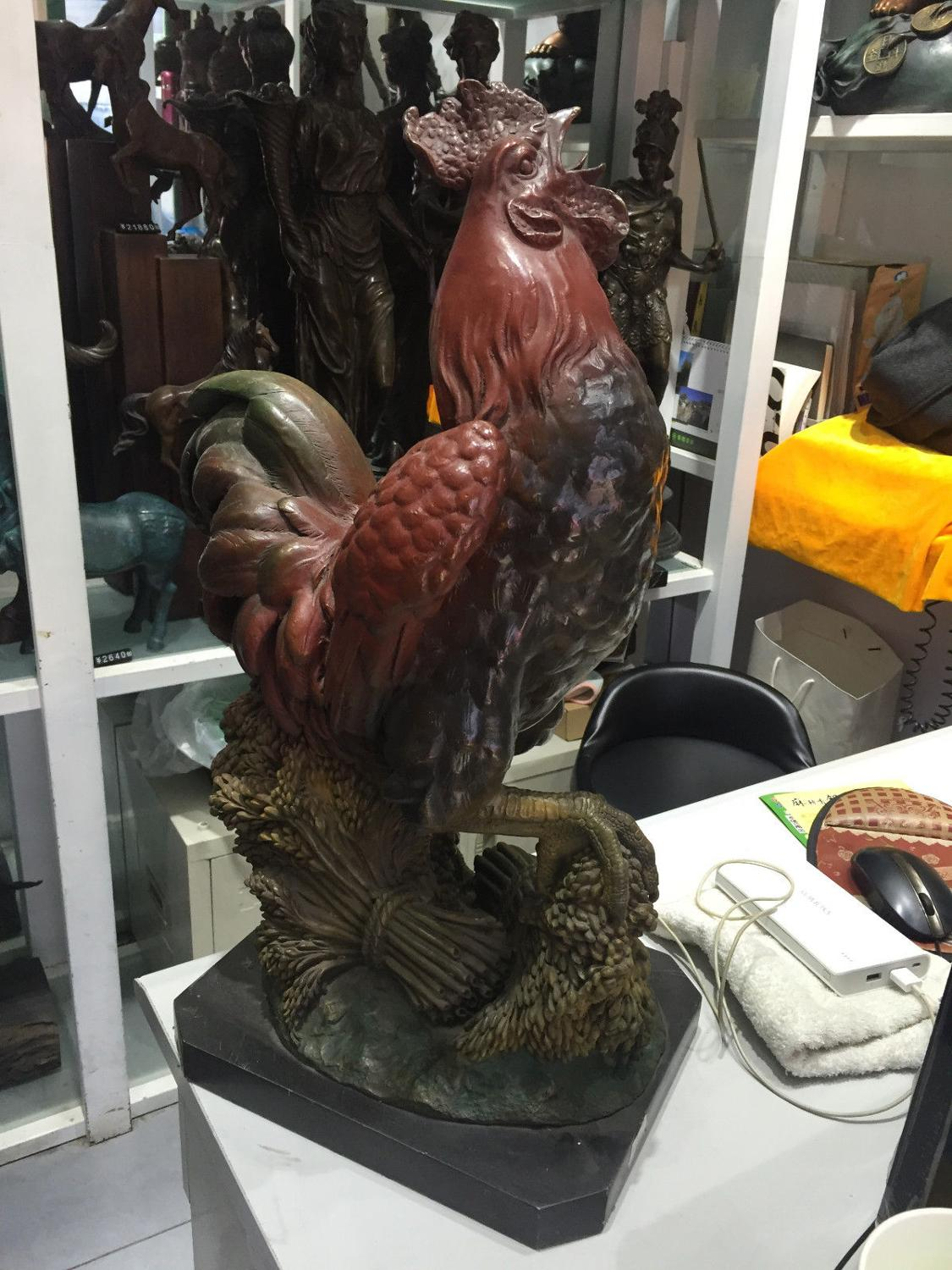 SD Beautiful Art <font><b>Decoration</b></font> Chicken <font><b>Rooster</b></font> Bronze Statue Cock Figurine