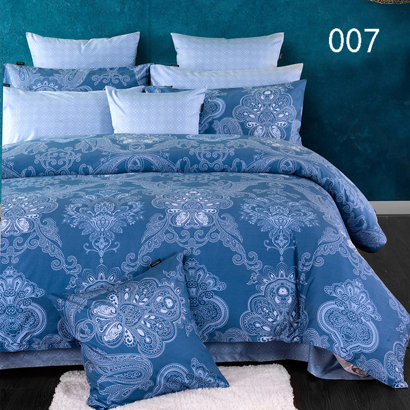 Bedding Sets Bedclothes Set Blue White Bed Linens Cotton 4Pcs Duvet Cover Quilt Cover Comforter Cover Flat Bed Sheets Pillowcase(China (Mainland))