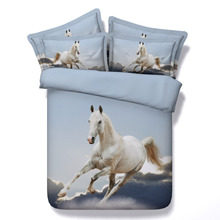 3d bedding set white horse sunset fire bedding horse print twin queen king super king Modal duvet cover set bedlinen bedclothes(China (Mainland))