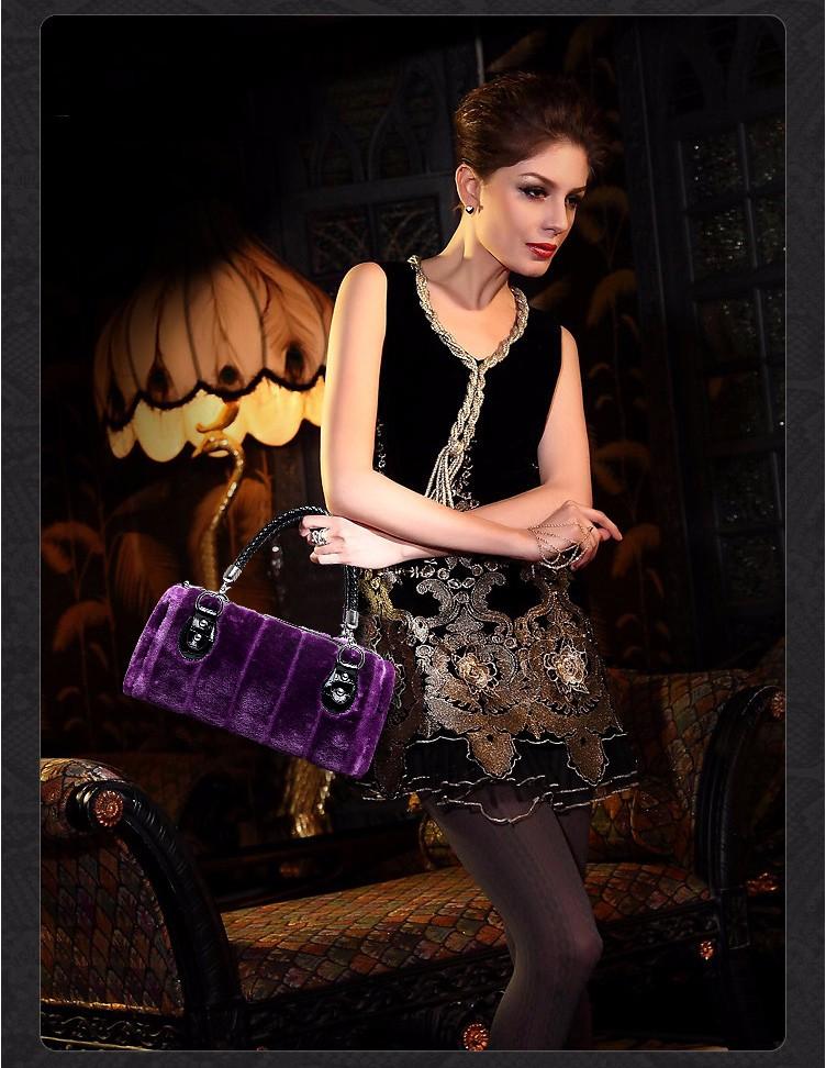 2016 Luxury Winter Faux Fur Bags Fashion Women Handbag PU Leather Handbags Women Famous Brand Shoulder Messenger Bags Purple Bag