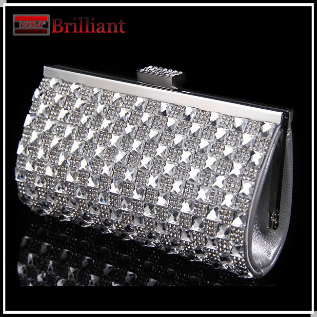 Handmade top quality full rhinestone silver bag women clear clutch wedding clutch with crystals evening bags mini handbag Hk889(China (Mainland))
