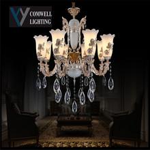 2016 New Arrival Sale Modern Chandeliers Led Light Crystal Kroonluchter Lampadario Lustres De Sala Zinc Alloy Jade 8820/8(China (Mainland))