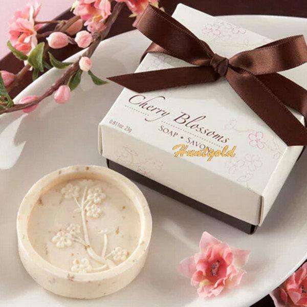 free shipping Tourmaline soap Cherry Pattern Wedding Xmas Party Love Gift Handmade Bathroom Bath Savon Soap Soap Dish Soap(China (Mainland))