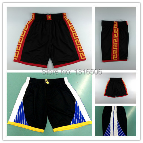 2015 Golden State Basketball Shorts #30 Stephen Curry #11 Klay Thompson Chinese New Year Black Basketball Short,Size M-XXL(China (Mainland))