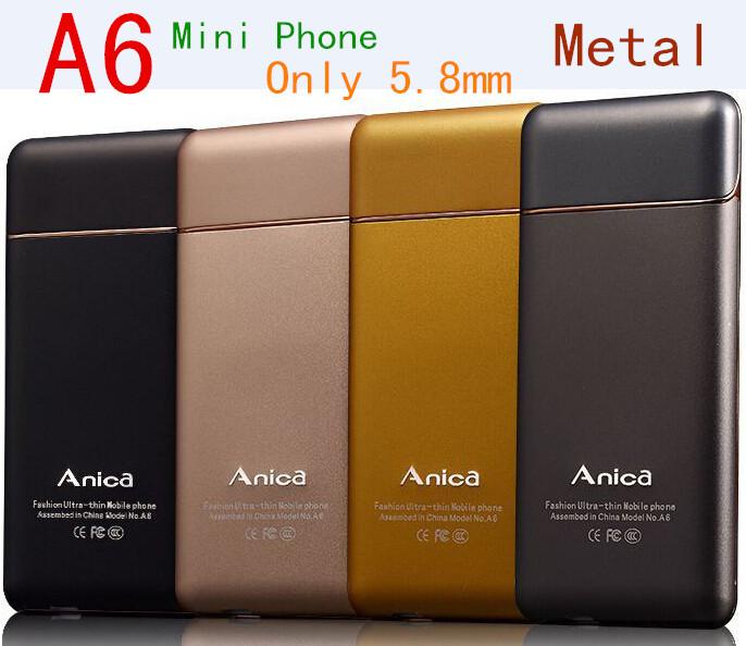 Russian Keyboard Language Mini Original Phone Anica A6 Ultra Thin Student Version Mobile Phone Spanish M5 M3 M9 Gold Cell Phones(China (Mainland))