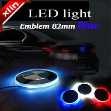 82mm Blue white Car LED rear emblem decorative light auto badge lamp sticker LED logo light(China (Mainland))