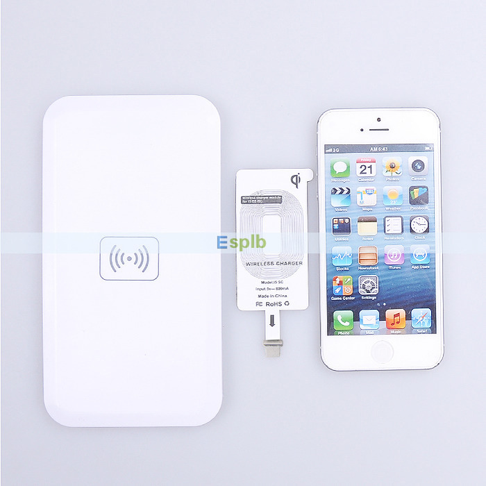 Qi Standard Wireless Charging Charger Transmitter Pad+Charger Receiver Adapter Set+Micro USB Cable for iPhone 5 5C 5S 6