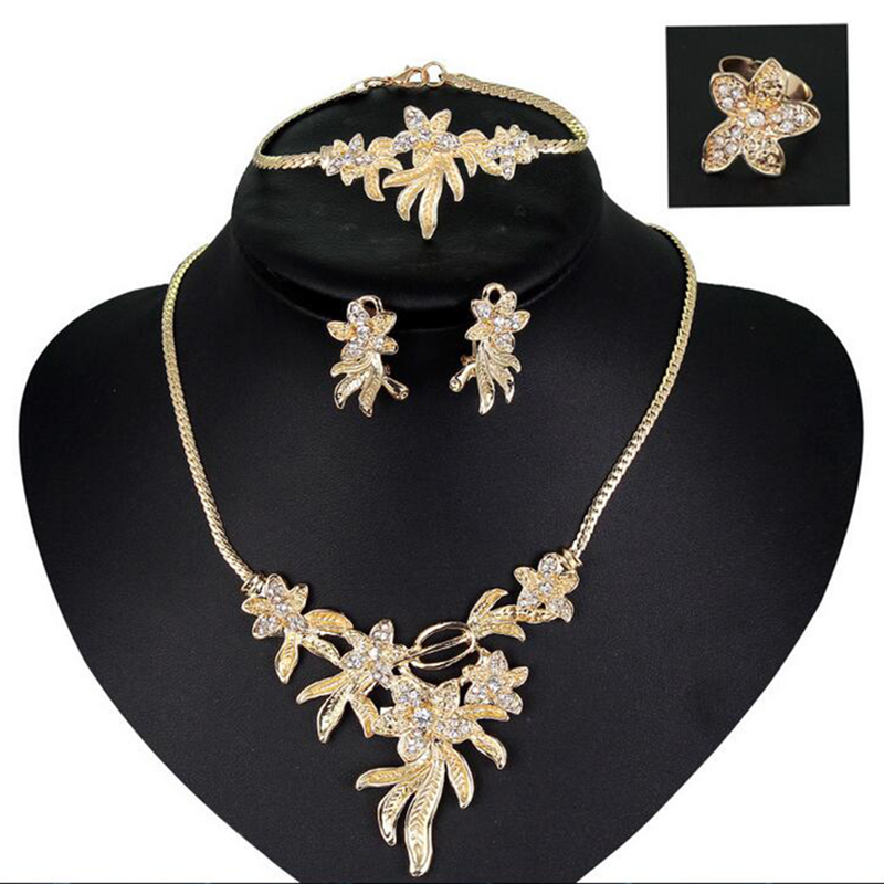 jewelry sets for women Austrian Crystal necklace earrings 18k gold plated African wedding bridal statement flowers set jeweller(China (Mainland))