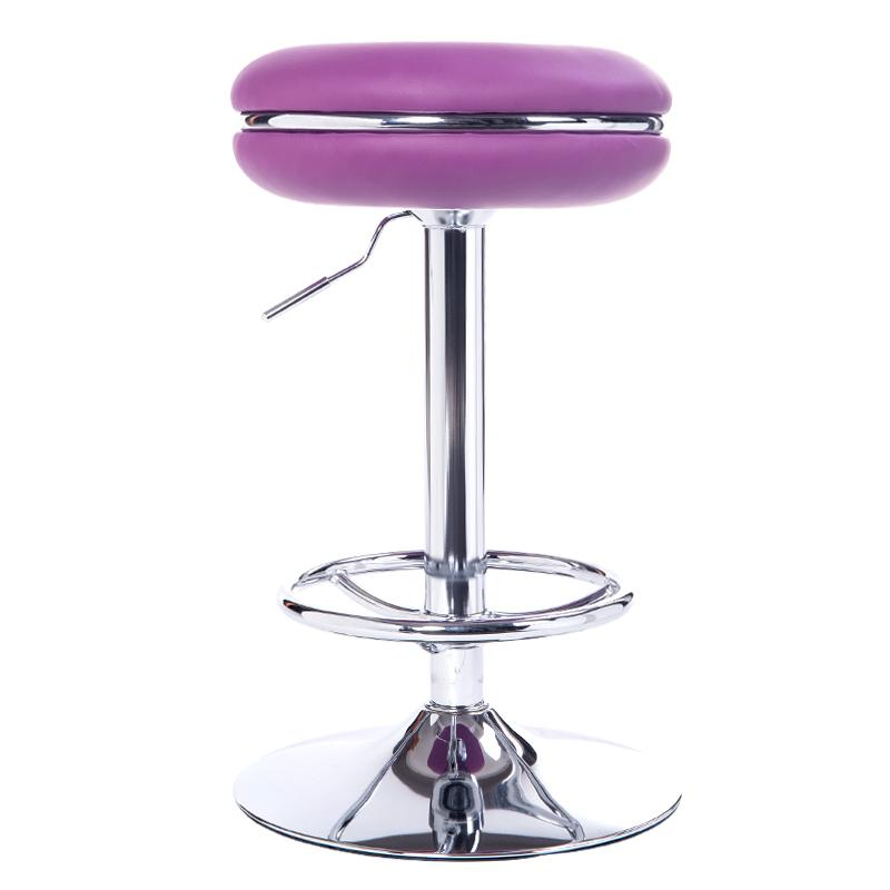 Salon stool purple color up down chair lift pu chair free for Colored salon chairs