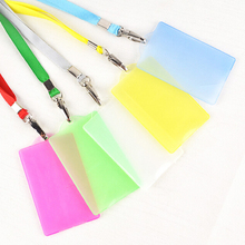 20pcs Badge Holders With Lanyard Candy Colors Busines Worker Exhibition School Supplies Convenient Practical Badge Holder(China (Mainland))